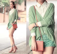 Mint green sweater.