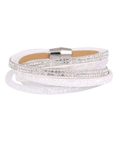 Another great find on #zulily! Silver & Co. Crystal & White Faux Leather Wrap Bracelet by Silver & Co. #zulilyfinds