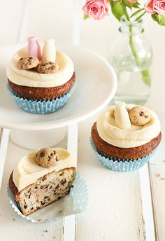 Milk & Chocolate Chip Cookie Cupcakes.  Look at the mini cookies and milk bottles on top!