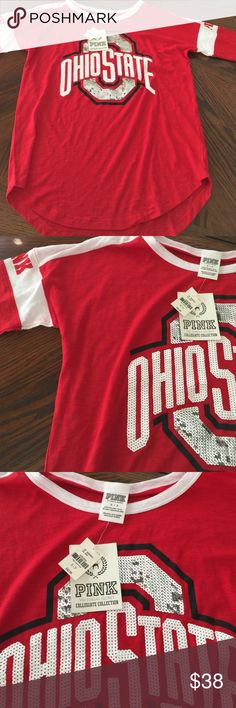 Brand New Ohio State Collegiate Collection Brand New with Tags Victoria Secret Pink Collection Ohio State Tee. PINK Victoria's Secret Tops Tees - Long Sleeve