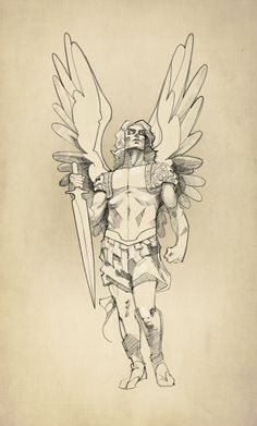 Arch Angel Michael Tattoo Sketch 02