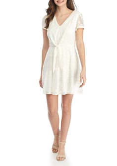 As U Wish Short Sleeve Knot Front Lace Dress bbdb6c9c1def