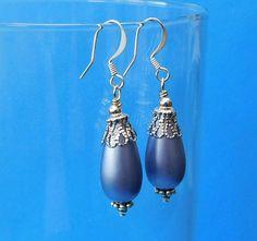Unique Earrings for Girlfriend Gift, Light Blue and Silver Teardrop Earrings, Blue Vintage Style Drop Earrings Gift for Mom