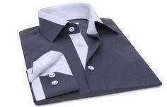 Chemise homme Twisted gris charbon doublure blanche, Chemises cintrées - Chemise Homme
