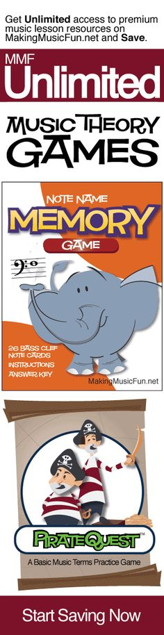 Get Unlimited music theory games for kids with MMF Unlimited and Save. MMF Unlimited gives you instant access to every music education resource on MakingMusicFun.net for one year at a great price.