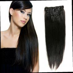 "51.12$  Watch now - http://aliyz2.worldwells.pw/go.php?t=32489645140 - ""Full Head Human Hair Virgin Hair Clip In Hair Extensions  Black  Blond  20""""22"""" Long Straight Human Hair Clip Ins Cabelo Humano"" 51.12$"