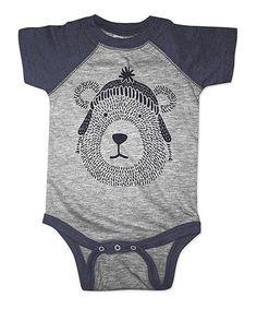 Another great find on #zulily! Heather Navy Bear & Toque Raglan Bodysuit - Infant #zulilyfinds