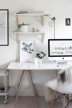 White home office ideas. I need an inspiring place to write.