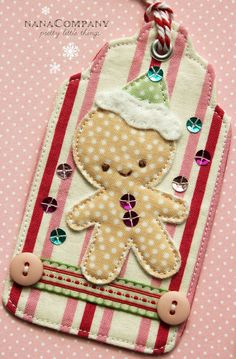 Holiday Tag-a-Long: Week 3 Christmas Tags Use scrap fabric and other craft bits to create these adorable tags.Christmas Tags Use scrap fabric and other craft bits to create these adorable tags. Christmas Sewing, Noel Christmas, Christmas Gift Tags, All Things Christmas, Christmas Ornaments, Felt Ornaments, Christmas Fabric, Homemade Christmas, Christmas Projects