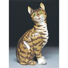 Emile Gallé - Faience Tin-glazed Earthenware Model of a Cat, circa 1880. H: 13 inch. With glass paperweight eyes (Sold at $ 5100 in Dec 2003, Sotherby's)