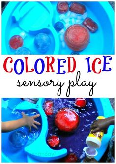 colored ice sensory play, colored ice, ice in water table, sensory play with ice