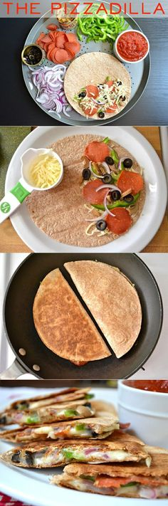 Pizzadillas - healthy pizza. perhaps I'll make a run to the store for some tortillas..