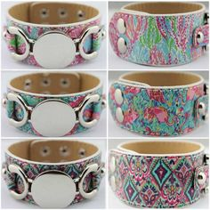Personalized Lilly Pulitzer Motif Leather Cuff Bracelets for Women 2017 New Silver Plated Summer Floral Monogram Blank Jewelry  #Affiliate