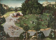 Lucas Cranach d. Ä.  Hirschjagd des Kurfürsten Friedrich des Weisen. 1529, Öl auf Holz, 80 × 114 cm. Wien, Kunsthistorisches Museum. Deutschland. Renaissance.  KO 02654