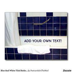 Blue And White Tiled Bathroom Postcard