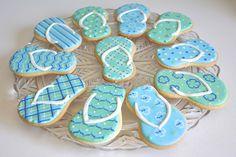 Flip flop cookies for end of summer fun! by Kelley Hart Custom Cookies
