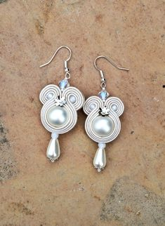 pearl bridal soutache earrings in off white by AtelierMagia Soutache Earrings, Drop Earrings, Pearl Bridal, White Gowns, Tiny Flowers, Shibori, Wedding Gowns, Off White, Party Dress