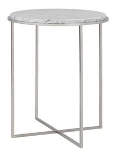 Siena Side Table Smooth Polished Stainless Steel With Carrara Marble Top Available In Nickel Chrome Platinum Silver And All Paint Finishes