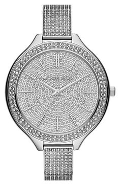Michael Kors 'Slim Runway' Pavé Crystal Bangle Watch, 43mm available at #Nordstrom  Definitely a francesca watch