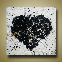 Abstract Heart Painting Small Textured Painting by BrittsFineArt