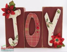 christmas wood crafts | Christmas Wooden Letters-Joy Holly