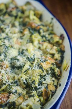 Spinach Artichoke Stuffing is a mashup of everyone's favorite party dip and everyone's favorite Thanksgiving side. It's loaded with spinach, artichokes and parmesan cheese.