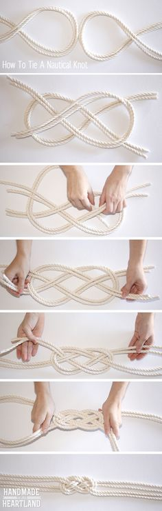 DIY Nautical Knot Rope Necklace  Could be used for a bracelet or belt also