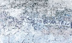 MARK BRADFORD, Silver and Blue, 2012  Mixed media collage on canvas  120 x 199 inches via Sikkema Jenkins & Co. Gallery, NY
