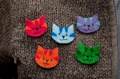 Felt Cat Brooches by Doodlecats by Beth Wilson