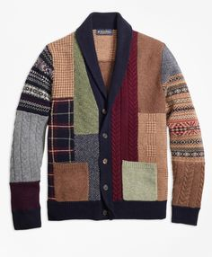 It's in your best interest to pick up this style before it's inevitably sold out.  Brooks Brothers has always been in the market of creating quality merchandise but this is on another level.  For starters, our lambswool patchwork cardigan took our designer over 30 hours to create. What you see as the final product is the amalgamation of twenty unique panels sharing any number of fifteen different colors.  Each panel is knit individually and then carefully linked by hand by our master…