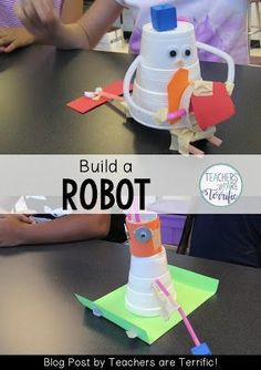 STEM Challenge for first graders! They build a robot after reading a book! STEM Challenge for first graders! They build a robot after reading a book! Activities For 1st Graders, Preschool Activities, Preschool Learning, Toddler Preschool, Summer Activities, Stem For Kids, Stem For Preschoolers, Kindergarten Stem, Stem Science