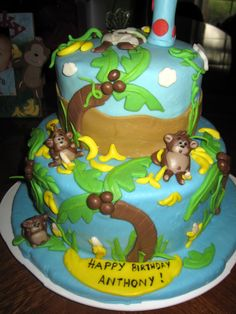 baby boys first birthday cakes | The ultimate monkey cake! This was my son's first Birthday cake. Two ...