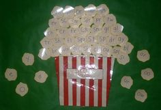 Popcorn bucket filled with all the sounds learned in Abeka kindergarten