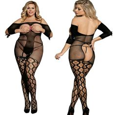 0562a8aff7 Black Plus Size Bodystocking Fishnet Satin Bow Open Queen Size Lingerie 1X  2X 3X  fashion