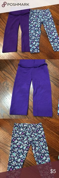 2 pair - 18m Pants Purple Yoga Pants - Granimal 18m Flower Leggings - Carter's 18m Condition: great Bottoms Leggings