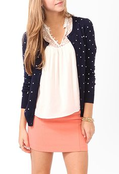 Polka Dot Cardigan by Forever 21 in sz. M Red/Cream