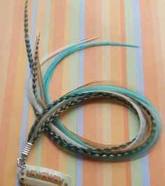 #Hair #Feathers #Extensions #Clip #In #Turquoise and #Natural Mix #handmade #thecraftstar $10.50