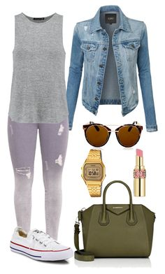 """""""Casual."""" by frenkiefashion on Polyvore featuring LE3NO, Casio, rag & bone, Converse, Givenchy, Topshop and Yves Saint Laurent"""