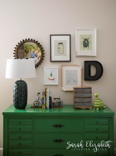Green vintage dresser and a charming gallery wall for a little boy's room designed by Sarah Elizabeth Interior Design in Phoenix, AZ.