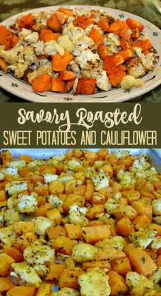 This savory sweet potato recipe is a delicious side dish. This roasted sweet potatoes and cauliflower recipe is quick and easy to make. Perfect Thanksgiving dinner recipe!