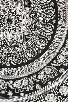 Black and White Bohemian Tapestry Elephant Mandala Hippie Indian Wall, Beach, Bedspread Bohemian Tapestry