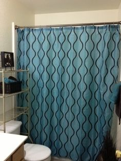 Amazoncom Brown Teal Flocked Polka Dots Fabric Shower Curtain