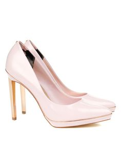 Pin to win a $800 shopping spree for you and a friend at http://www.tedbaker.com/pinpointed/ || Leather platform court - Nude Pink | Shoes | Ted Baker