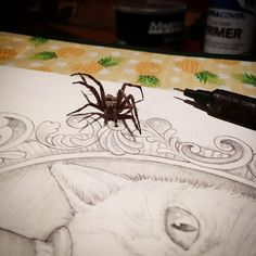 I swear i could hear him breathing #art #artwork #spider #spiders #arachnophobia #insects #scary #sketch #sketchbook #draw #drawings #doodles #cat #cats #kitten #derp #derpycat #woodshop #basement #ticklemyleg #surfart #tattoo #tattoos #tattooart #graphicdesigner #graphicartist #socal #goosebumps #stephenking #knightwoodworks
