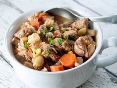Made with beef stew meat, pork stew meat or chops, onion salt, black pepper, ground red pepper, carrots, onion, chicken thighs, red potatoes, green bell peppers, stewed tomatoes, chicken broth, whole kernel corn, lima beans | CDKitchen.com