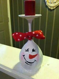 Cute wine glass candle holder diy gift