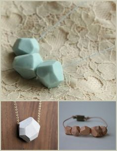 DIY Faceted Polymer Clay Beads. I have seen these faceted beads everywhere - Marc Jacobs, Etsy etc…  You can make these beads so cheaply. Tutorials: Top: More of pretty photos of beads just a sentence about how she