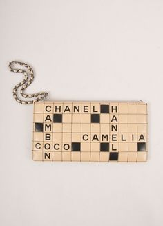 Nude and Black Quilted Leather Crossword Puzzle Wristlet Clutch Bag   clutchescrossword Leather Clutch 7374efa0ac3c9