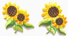 "Amazon.com: [2 Count Set ] Custom and Unique (1 7/8"" by 1 7/8"" Inches) Nature Gardens Double Blooming Sunflower With Leaves Iron On Embroidered Applique Patch {Gold, Brown, and Green}"