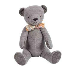 Grauer Teddy mit bunt bedruckter Fliege - auch noch in blau und rosa bei uns erhältlich!